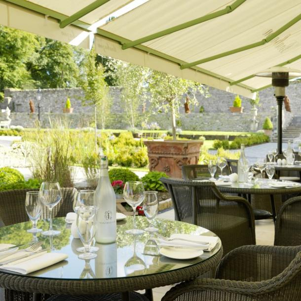 Brabazon Restaurant's French doors lead seamlessly to the outdoor terrace and garden area, complete with awning and patio heaters. The perfect place for Dining al fresco in the Boyne Valley.