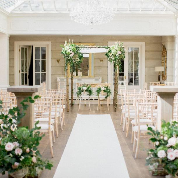 Tankardstown House offers the option to have your ceremony on-site, in the light filled Orangery or outdoors in the beautiful gardens.