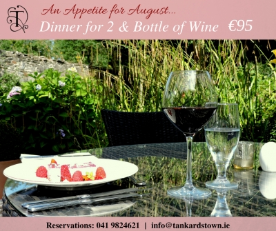 An Appetite for August at Brabazon Restaurant. Set Dinner for 2 with a bottle of wine only €95 this August.