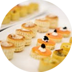 Selection of delicious canapés to welcome guests on arrival.