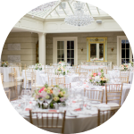 Seating for up to 230 guests dining in the Orangery.